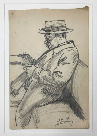 harry sternberg, 'Man on Bench, Reading', circa 1940
