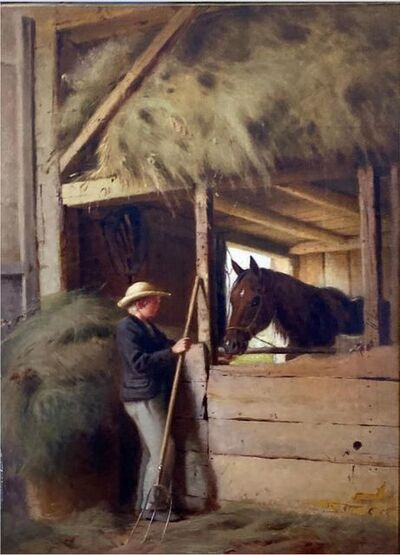 William M. Hart, 'Interior of a Stable', 19th century