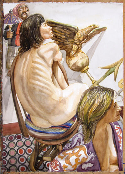 Philip Pearlstein, 'Two Models, Eagle Weathervane and Marionette', 2008