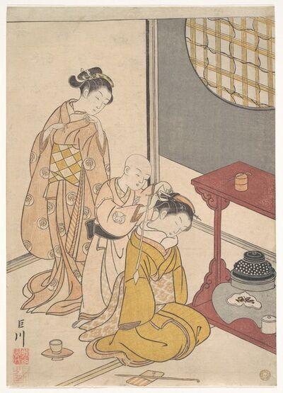Suzuki Harunobu, 'Night Rain at the Double-Shelf Stand, from the series Eight Parlor Views (Zashiki hakkei)', ca. 1766