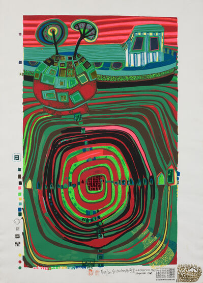 Friedensreich Hundertwasser, 'La Barca-Regentag (Slow Travel Under the Sun)', 1969