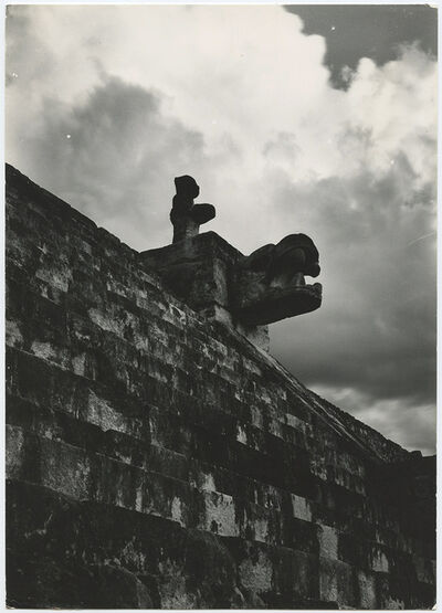 "Laura Gilpin, '""Figure at the top of steps at Temple of the Warriers in Chichen Itza.""', 1930s"