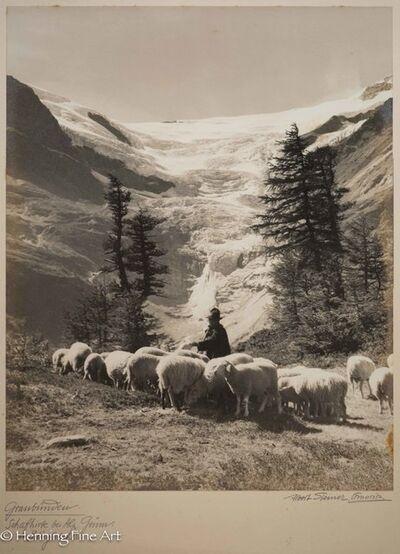 """Albert Steiner, '""""Graubunden. Schafhirte bei Alp Grum. Am Palugletscher.""""  (""""Graubunden. Shepherd at Alp Grum. On the Paluglacier. """")', 1925-1950"""