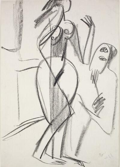 Ernst Ludwig Kirchner, 'Nackte Tänzerin und Zuschauer', 1929