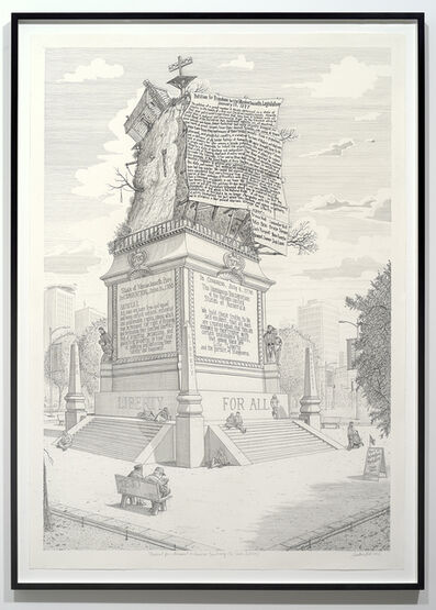 Sandow Birk, 'Proposal for a Monument to American Sanctimony (The Slaves' Petition)', 2016