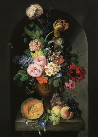 Franz Xaver Petter, 'Flower still life with butterflies'