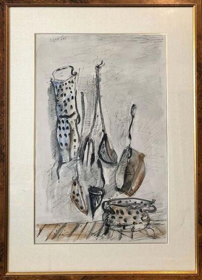 Yosl Bergner, 'Abstract Composition, Kitchen Utensils.', Mid-20th Century