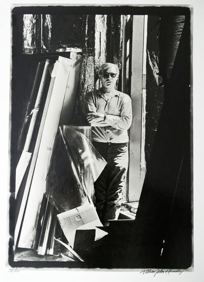 William John Kennedy, 'Andy Warhol unrolling his original Marilyn acetate for the first time (1 of 4)', 1964