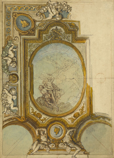 Charles de La Fosse, 'Studies for a Ceiling Decoration (recto), Studies for a Ceiling Decoration (verso)', 1680
