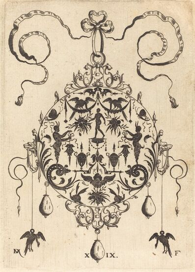 Daniel Mignot, 'Large Pendant, In Circular Form, Nude Man Flanked by Two Herms', 1596