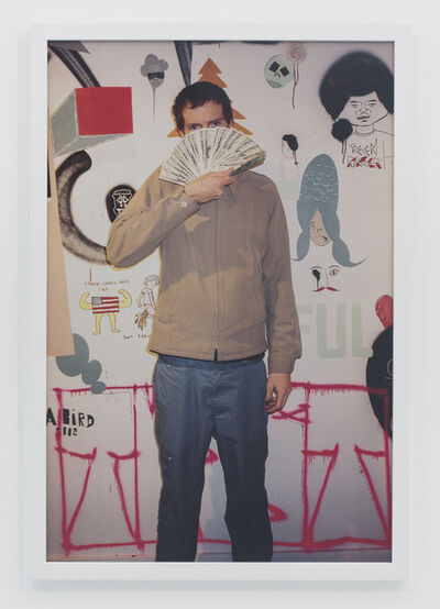 Andrew Jeffrey Wright, 'Holding money in front of wall of me and barry's art', 2002