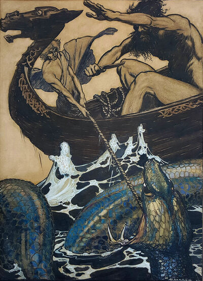 Arthur Rackham, 'Sea Battle - (Stories from the Edda)', 1905-1915