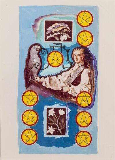 Salvador Dalí, 'Neuf de pentacles, arcane mineur, projet pour le jeu de carte Le Tarot Universel de Salvador Dalí', 1971
