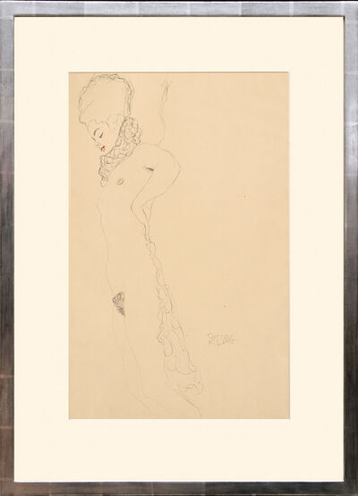 Gustav Klimt, 'Liegender, weiblicher Akt, mit Halskrause (rot getönt). Lying, Female Nude, with Necklace (red tinted).', 1919