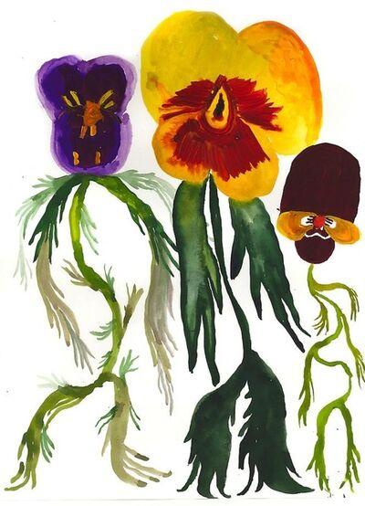 Allison Schulnik, 'Three Eager Pansies', 2013