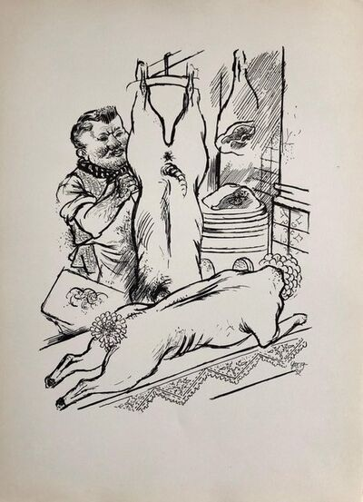 George Grosz, '1936 Lithograph Interregnum Portfolio Butcher Shop Small Edition Weimar Germany', 1930-1939