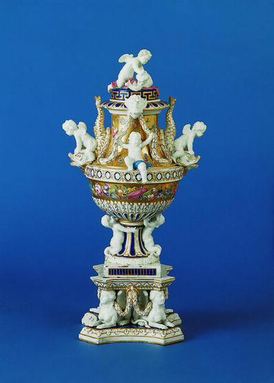 Chelsea Porcelain Factory, 'Vase with Pedestal (Cupid and Dolphin)', about 1775-1780