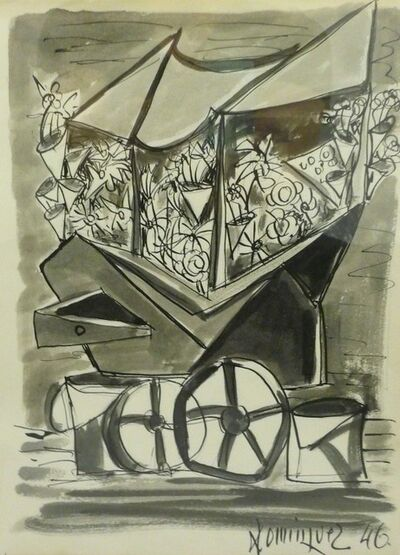 Óscar Domínguez, ' Ink and watercolor on paper'