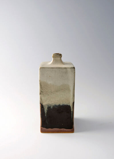 Shōji Hamada, 'Rectangular bottle, black and nuka glaze'
