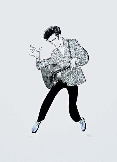 Al Hirschfeld, 'Elvis Presley (Blue Suede Shoes)', 2001