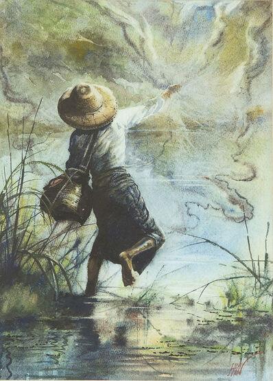 Hla Han, 'Fisherman Casting Net', undated