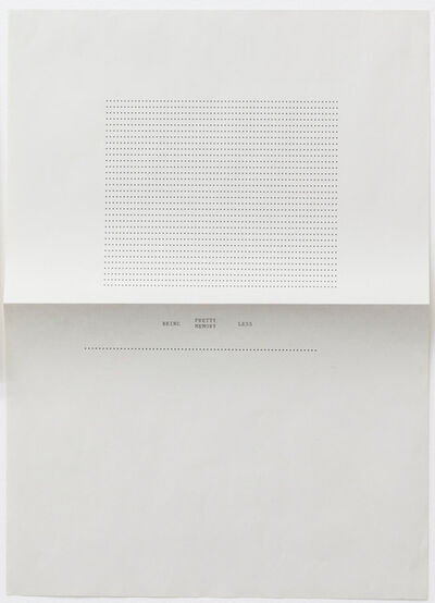 Sue Tompkins, 'Untitled (Text reads: Being Pretty Memory Less)', 2012