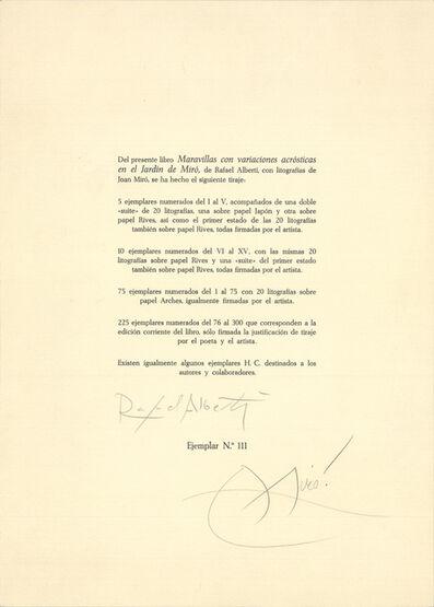 Joan Miró, 'Maravillas con Varaciones Acrósticas en el Jardìn de Miró', 1975
