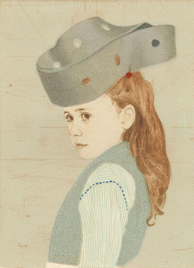 Ellen Heck, 'Heather Wearing a Perforated Möbius Strip as a Hat', 2016