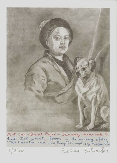 Peter Blake, 'The artist and his pug, Trump (after Hogarth)', 2015