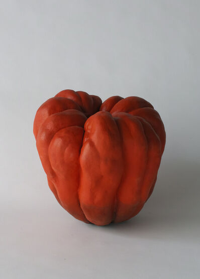 Katsumata Chieko, 'Biomorphic sculpture in the form of a pumpkin with matte glazes in red and black', 2015
