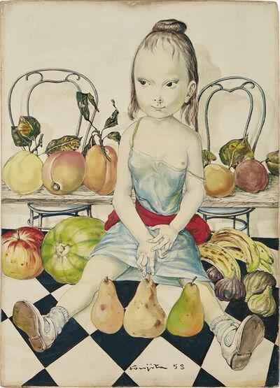 Léonard Tsugouharu Foujita, 'Fillette aux fruits et au damier', 1958