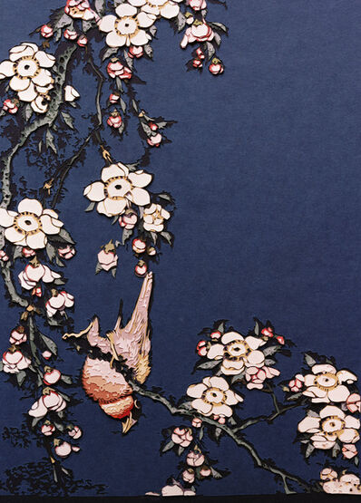 Vik Muniz, 'Bullfinch and Weeping Cherry, from Small Flowers, after Hokusai', 2010
