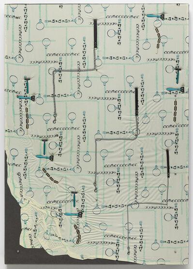 Nina Beier, 'Dog Leashes, Disposable Razors, Razor Bracelets, Chain Print Fabric', 2013