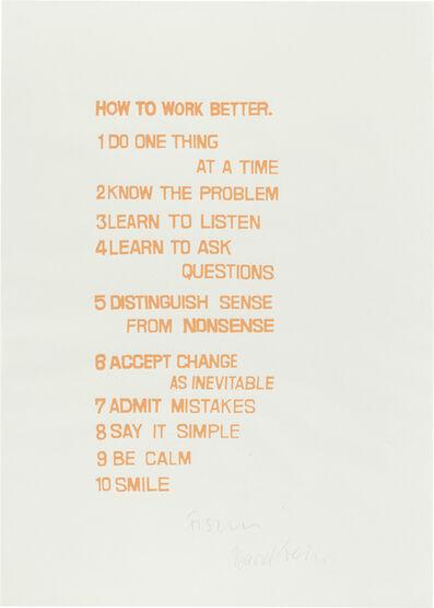 Peter Fischli & David Weiss, 'How to Work Better', 1991