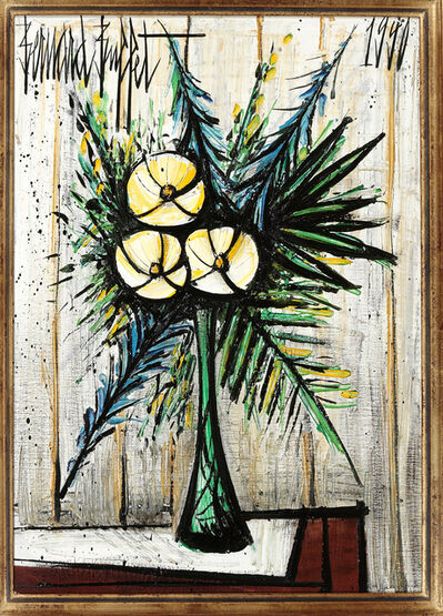Bernard Buffet, 'Lauriers blancs dans un vase Gallé I', painted in 1990.