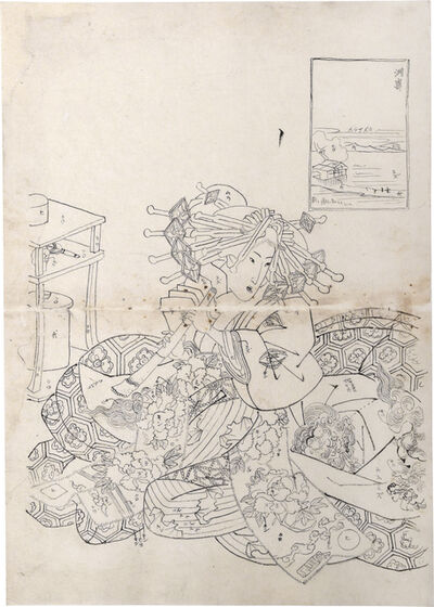 Teisai Sencho, 'Preparatory Drawing for print of Flourishing Scenes of the East: Susaki, Sugatano of the Sugata-Ebiya', ca. ca. 1830's