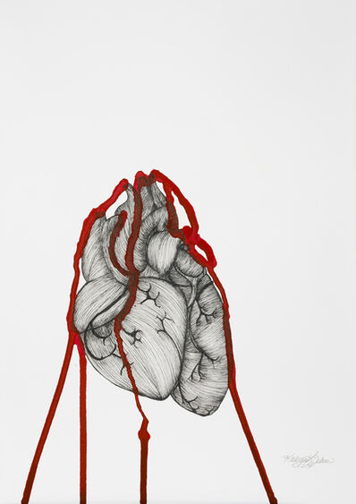 Katherine Filice, 'Heartbeat - Black and White Surrealist Drawing with Red', 2017