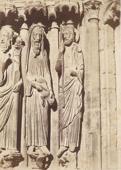 Jean-Louis-Henri Le Secq, 'Chartres (Eure-et-Loir), cathédrale Notre-Dame Portail central. Ebrasement gauche : Moïse, Samuel et David', 1852/1852