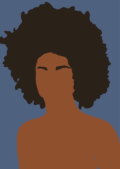 Samantha Viotty, 'Girl Puff- Digital Illustration of Portrait Blue+Brown', 2019