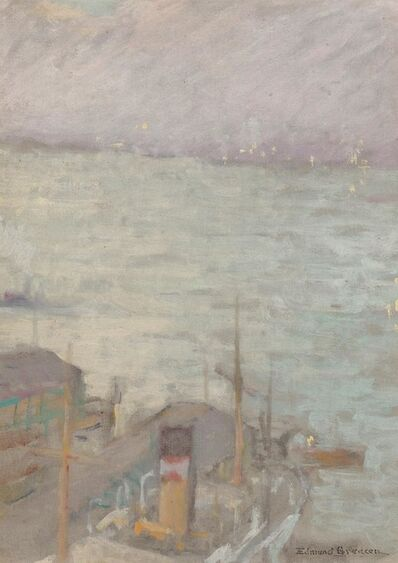 Edmund William Greacen, 'Misty Harbor and City/Woman Sketch: a Double-sided work'