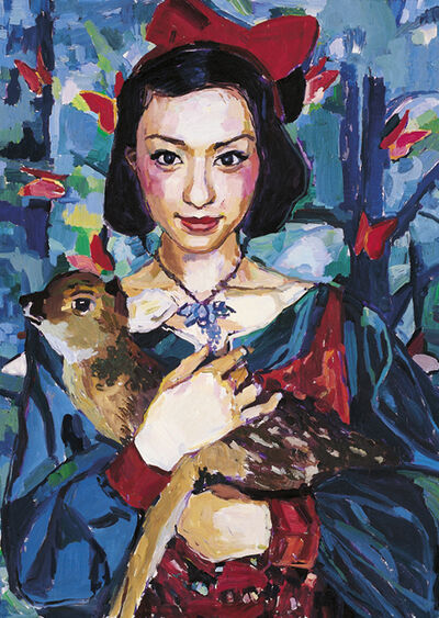 Sheng Tianhong, 'Young Asian Lady Hugging Deer', 2010