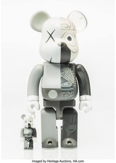 KAWS X BE@RBRICK, 'Dissected Companion 400% and 100% (Grey) (two works)', 2010