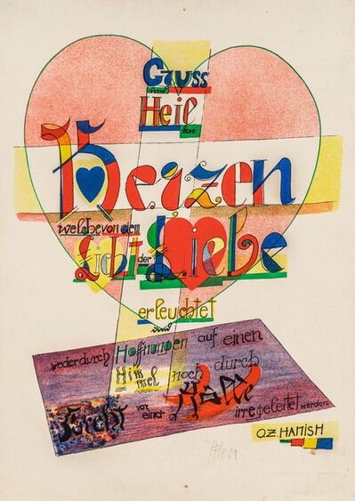 Johannes Itten, 'Gruss und Heil den Herzen (Greetings and salutations to the hearts)', 1921