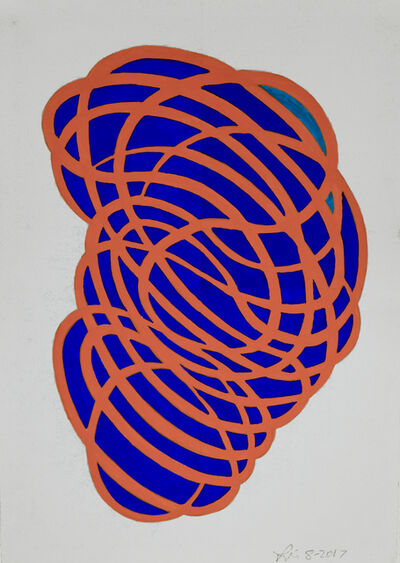 Linda Fleming, 'Gouache Wall Drawing (orange, blue)', 2017