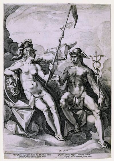 Jacob Matham after Hendrik Goltzius, 'The Alliance of Athena and Mercury', ca. 1588