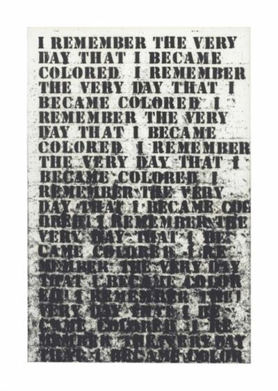 Glenn Ligon, 'Untitled (I remember the very day...)'