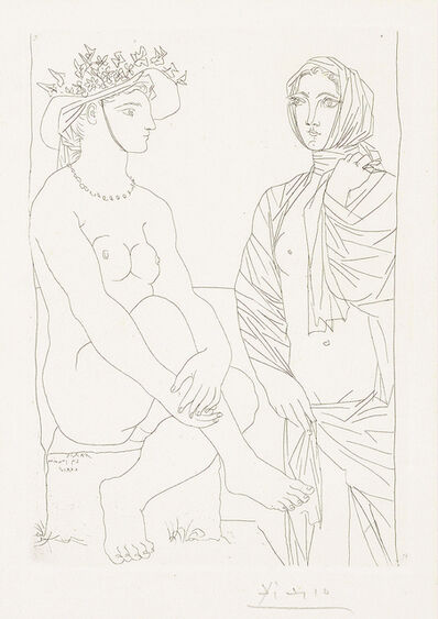 Pablo Picasso, 'Femme assise au Chapeau et Femme debout drapée (Woman sitting in hat and woman standing draped)', 1934