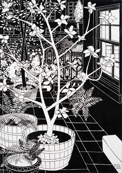 Norman Gilbert, 'Trees and Cast Iron Railings B&W', 2009