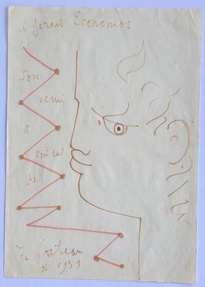 Jean Cocteau, 'Profile with Dedication', 1959