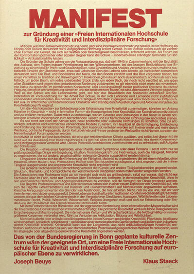 Joseph Beuys, 'Manifesto (Manifest)', 1979